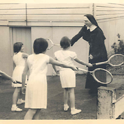 Sister Anne O'Brien with pupils, St Catherine's Brooklyn