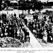 "Portion of the crowd which attended the opening of the new wards at the Salvation Army's mothers' hospital, ""Bethesda."""