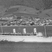 Queen Mary in the Derwent River with the Magdalen Home to the left in the background