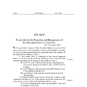 An Act to Provide for the Protection and Management of the Aboriginal Natives of Victoria